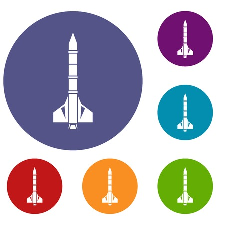 atomic bomb: Atomic rocket icons set in flat circle reb, blue and green color for web