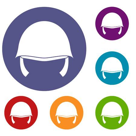 Military helmet icons set in flat circle reb, blue and green color for web