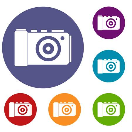 photographing: Photo camera icons set in flat circle reb, blue and green color for web