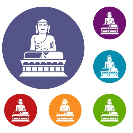 Buddha statue icons set in flat circle reb, blue and green color for web Illustration