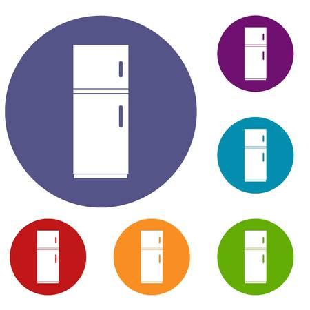icebox: Refrigerator icons set in flat circle reb, blue and green color for web