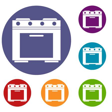 kitchen range: Gas stove icons set in flat circle reb, blue and green color for web Illustration