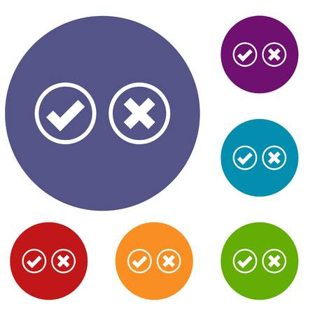Tick and cross selection icons set in flat circle reb, blue and green color for web