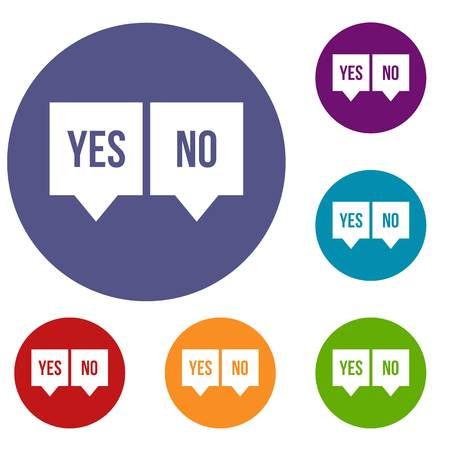 Signs of yes and no icons set in flat circle reb, blue and green color for web Illustration