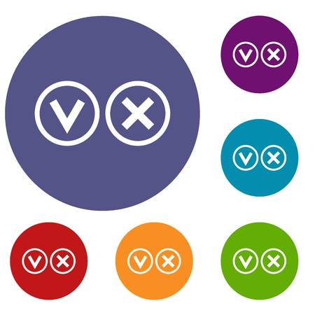 Signs of choice of tick and cross icons set in flat circle red, blue and green color for web Illustration