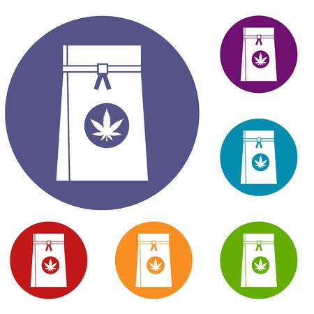 legalize: Bag with cannabis icons set
