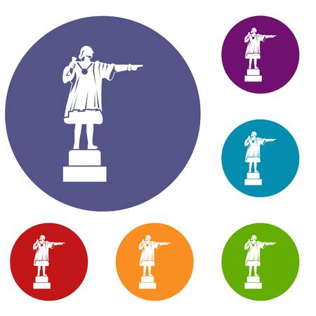 catalonia: Columbus monument icons set
