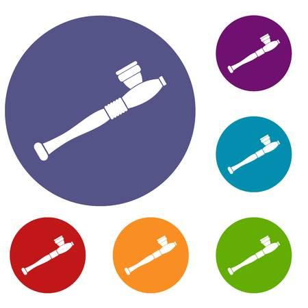 Pipe for smoking marijuana icons set