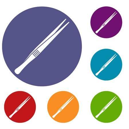 Tweezers icons set