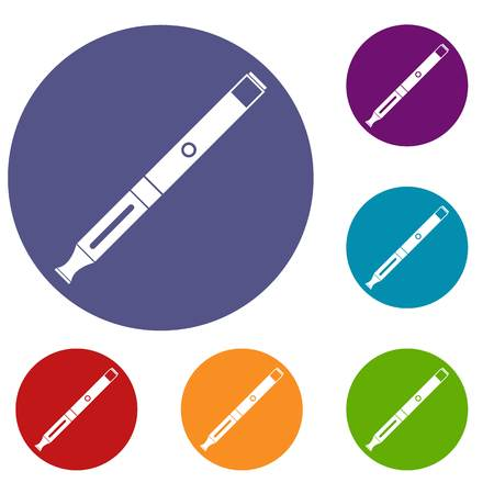 Electronic cigarette icons set in flat circle reb, blue and green color for web