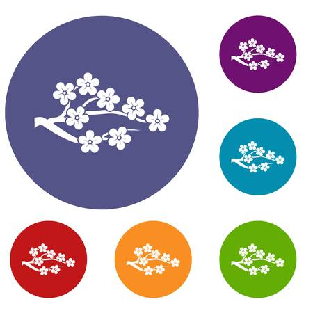 japanese garden: Sakura icons set in flat circle reb, blue and green color for web