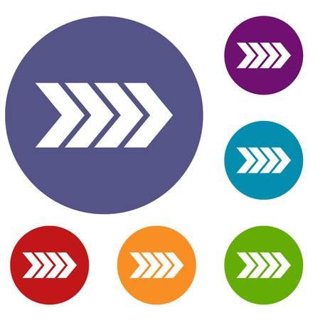 Striped arrow icons set