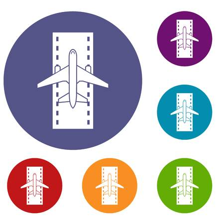 Airplane on the runway icons set in flat circle reb, blue and green color for web Illustration