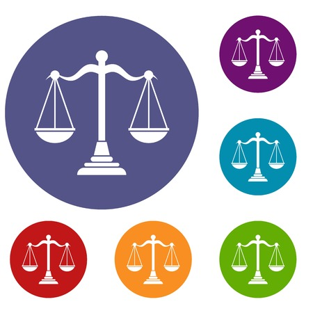 scale of justice: Balance scale icons set in flat circle reb, blue and green color for web