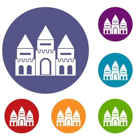 Children house castle icons set in flat circle reb, blue and green color for web Illustration