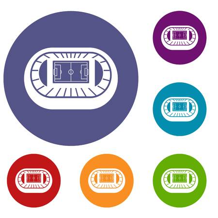real tennis: Stadium top view icons set in flat circle reb, blue and green color for web