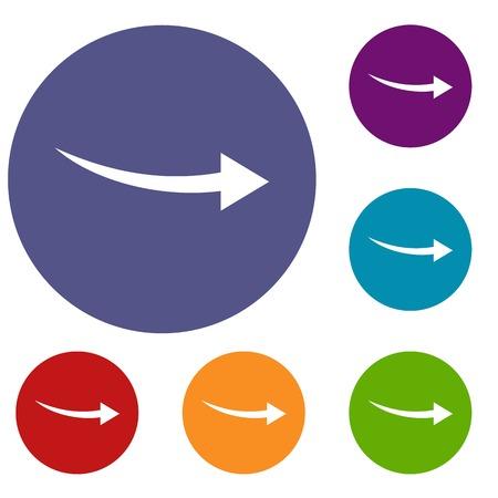 shift: Curve arrow icons set in flat circle reb, blue and green color for web