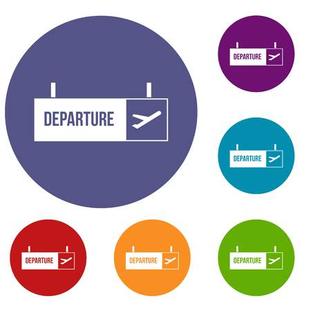 Airport departure sign icons set in flat circle reb, blue and green color for web Illustration