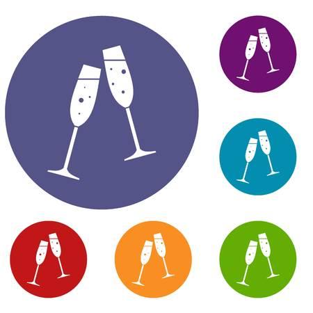 Due bicchieri di champagne in stile semplice isolato su sfondo bianco illustrazione vettoriale