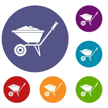 garden maintenance: Wheelbarrow icons set in flat circle reb, blue and green color for web