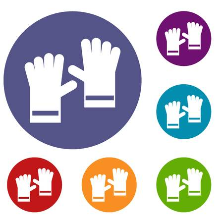 Rubber gloves icons set in flat circle reb, blue and green color for web Illustration