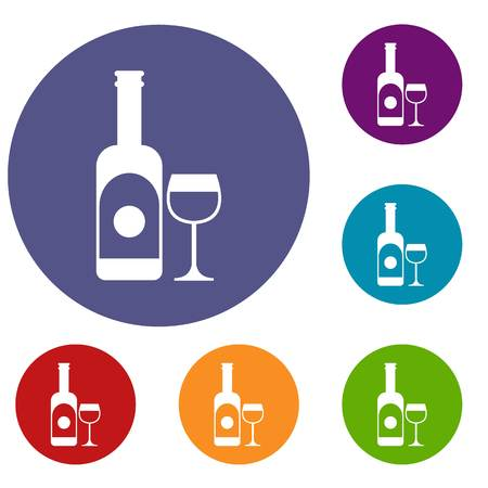dinner party: Wine and glass icons set in flat circle reb, blue and green color for web