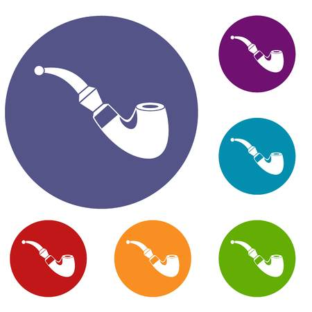 Wooden pipe icons set in flat circle reb, blue and green color for web Illustration