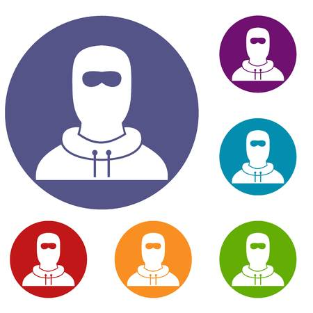 detainee: Man in balaclava icons set in flat circle reb, blue and green color for web