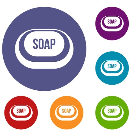 Soap icons set in flat circle reb, blue and green color for web