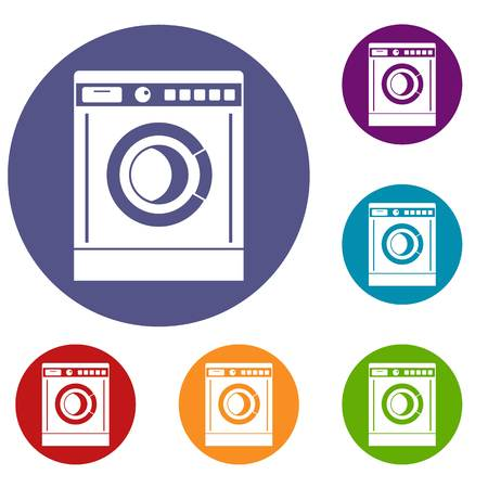 rinse: Washing machine icons set in flat circle reb, blue and green color for web Illustration
