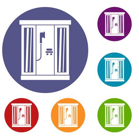 Shower cabin icons set in flat circle reb, blue and green color for web Illustration