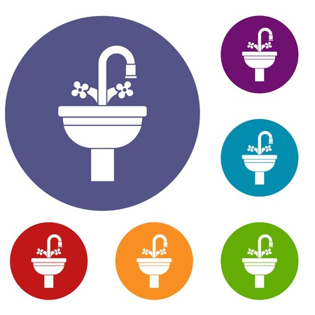 Ceramic sink icons set in flat circle reb, blue and green color for web