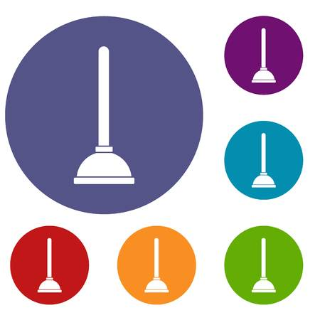 Toilet plunger icons set in flat circle reb, blue and green color for web