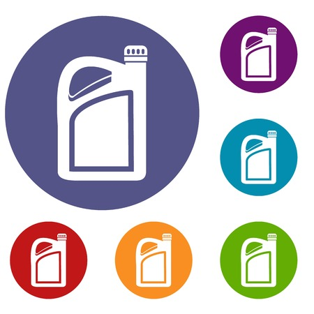 Jerrycan icons set in flat circle reb, blue and green color for web