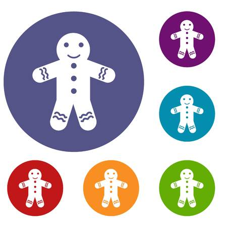 gingerbread man: Gingerbread man icons set in flat circle reb, blue and green color for web