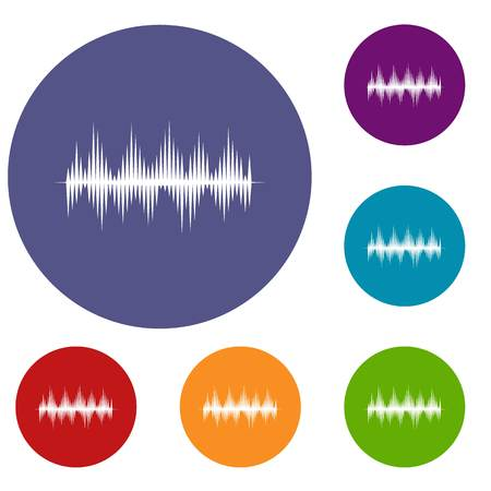 soundwave: Audio digital equalizer technology icons set in flat circle reb, blue and green color for web Illustration