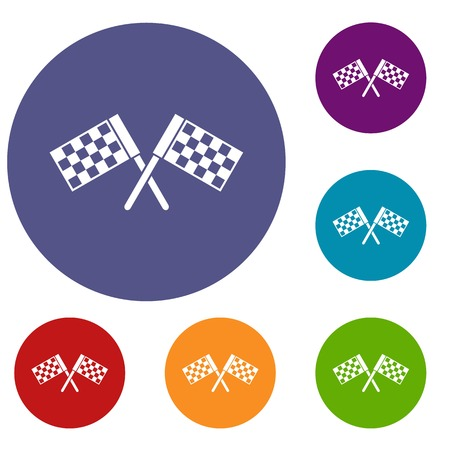 Crossed chequered flags icons set in flat circle reb, blue and green color for web