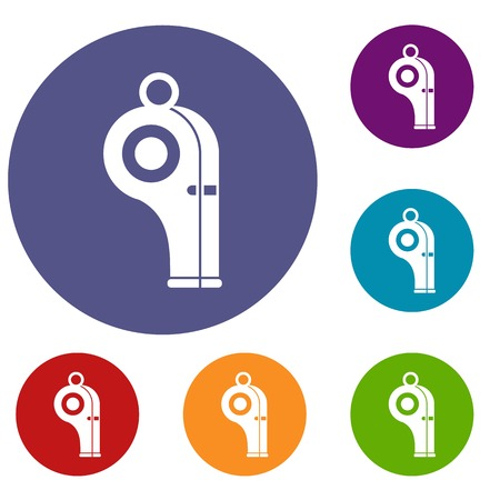 authority: Sport whistle icons set in flat circle reb, blue and green color for web