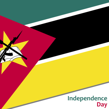 Mozambique independence day with flag vector illustration for web