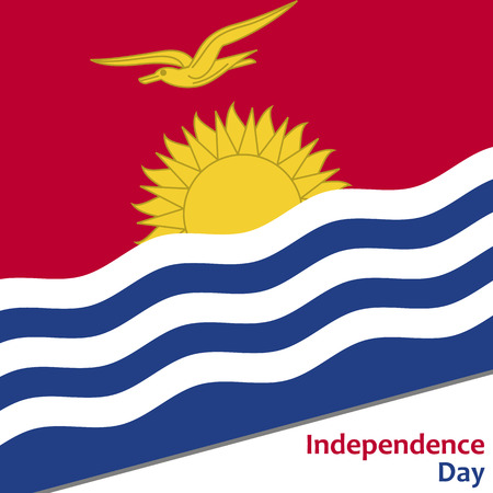 Kiribati independence day with flag vector illustration for web Illustration