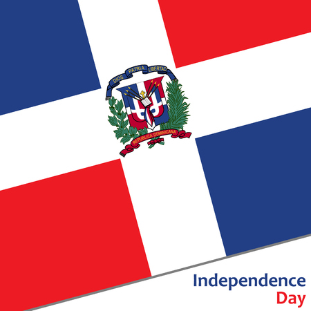 Dominican Republic independence day with flag vector illustration for web Ilustracja