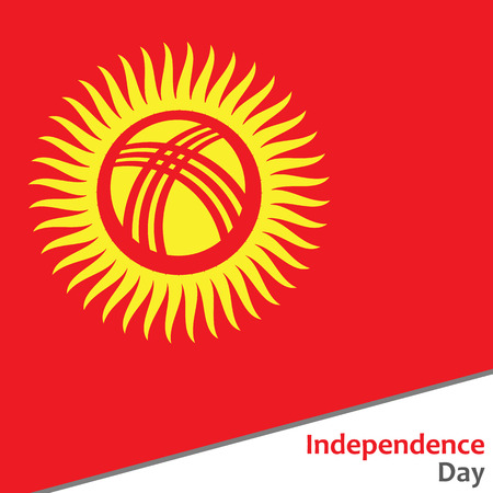 celebrities: Kyrgyzstan independence day with flag vector illustration for web