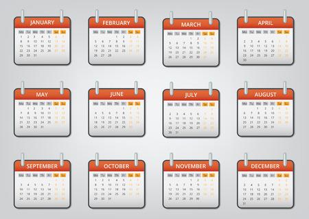 緩い葉カレンダー 2018 アイコン設定、漫画のスタイル