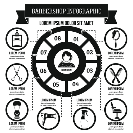haircutting: Barbershop infographic concept, simple style