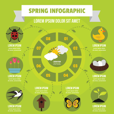 Spring infographic banner concept. Flat illustration of spring infographic vector poster concept for web Illustration