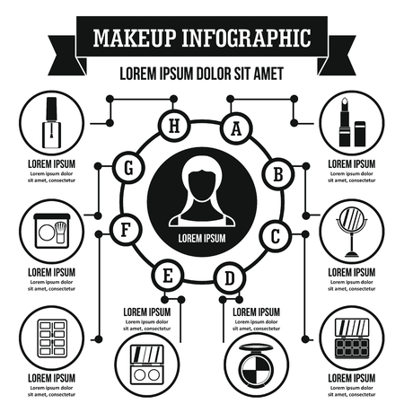 moisturizer: Makeup infographic banner concept. Simple illustration of makeup infographic vector poster concept for web Illustration