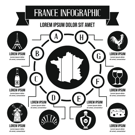 geographical: France infographic concept, simple style Illustration