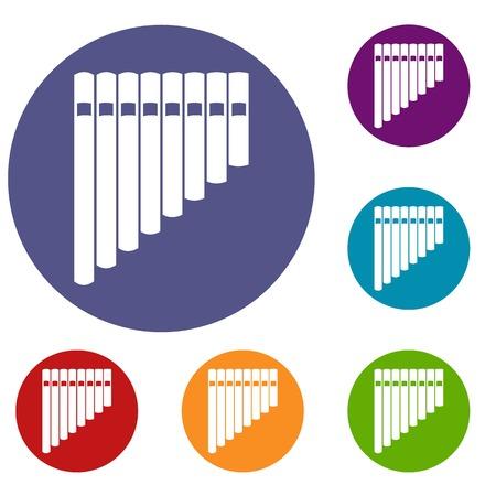 Pan flauta conjunto de iconos