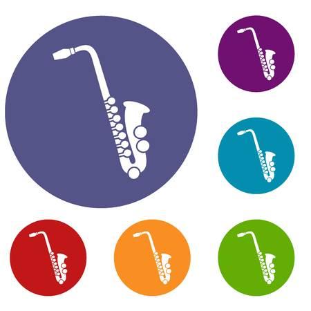 red sound: Saxophone icons set
