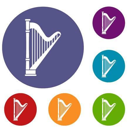 Harp icons set